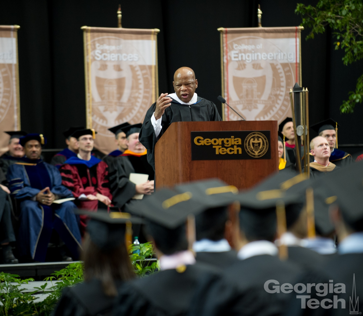 A photo of John Lewis giving his December 2011 commencement address at Georgia Tech.