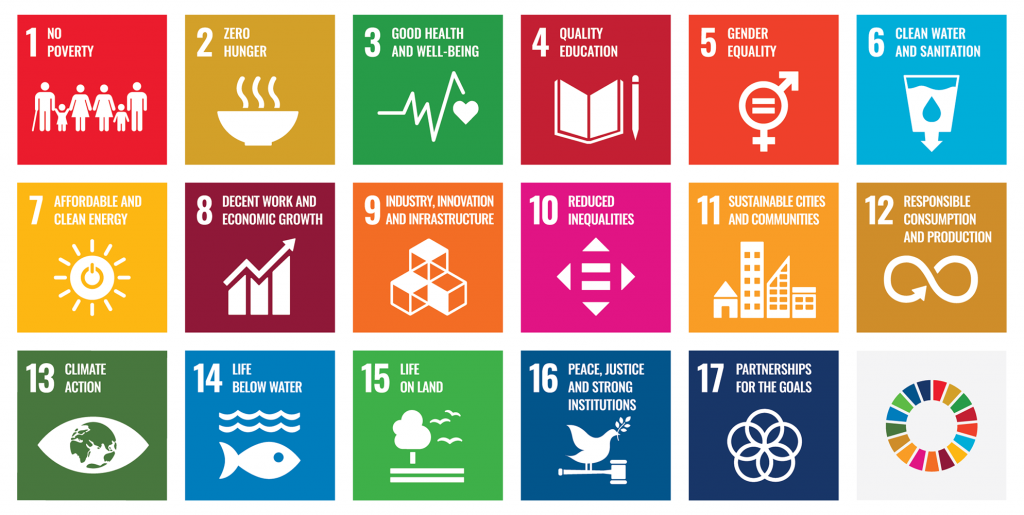 Graphic block illustrations of UN Sustainable Development Goals